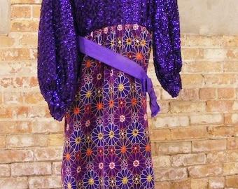"51% OFF 1960's Semi Formal Hand Sewn Sequin / Rhinestone Velvet Long Sleeve Dress Purple 32"" Bust"