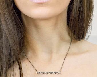 Diamond Baguette Bar Necklace - Diamond Bar Necklace - Diamond Bar Pendant - Bar Necklace - Minimalist Jewelry - Bridal Jewelry - Layering