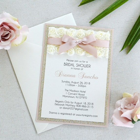 DIANNA- Rosette Bridal Shower Invitation - Ivory Rosette Lace with Pink Blush Ribbon - Baby Shower Invitation
