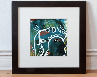 """Original 15/15 cm painting """"Night converter"""" picture"""