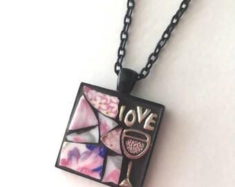 Glass of Rosé Mosaic Art Pendant