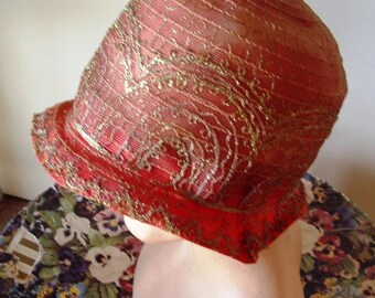 Late 1920's Original Gold/Burnt Orange Horsehair Cloche  Item #747 Hats