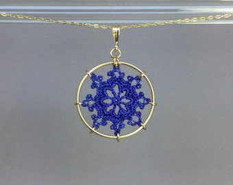 Nautical doily necklace, blue hand-dyed silk thread, 14K gold-filled
