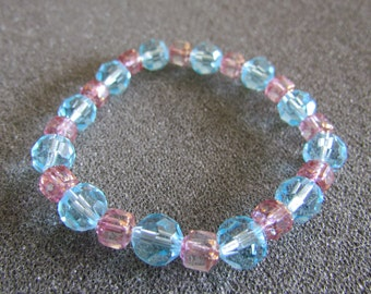 Aqua, Pink, Beaded Bracelet, Czech Crystal Beads, Cathedral Beads, Stretch Cord, Beautiful, Sparkle, Shine, Classy, Sizable