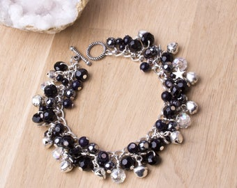 Bell Charm bracelet - Star and jingle bells black bead charm bracelet | Gemstone charms | Monochrome jewelry | Statement jewellery