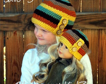 "18"" Doll & Child Hat, AG Crochet Hat, Fall Hat, Autumn Hat, American Girl Doll, Doll Hat, AG Matching Hat, Autumn Stripes Hat, Autumn Beanie"