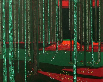 Pine Forest Starry Night (Print)