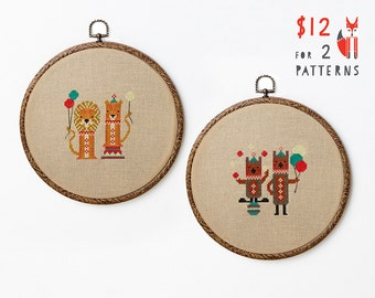 Circus Friends cross stitch pattern PDF download - two designs - both  includes colour chart and instructions - cute circus lions and bears