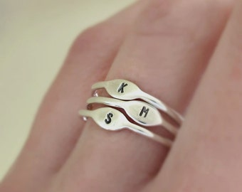 Letter Stacking Ring, Custom Personalized Initial Ring in Sterling Silver, Tiny Signet Ring