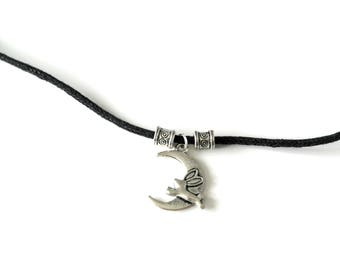 Black corded 'Hopping to the moon and back' adjustable choker handmade by Charmed Ivy