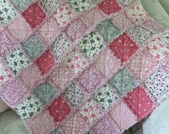 Baby Rag Quilt, Pink, White, Gray, Shabby Chic, Polka Dots, Elephant, Nursery, Baby Shower, Gift
