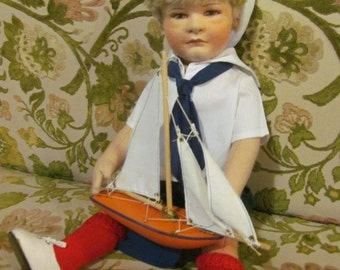 Sailor Boy Vintage Felt Doll R John Wright Doll Arthur Limited Edition Doll Sailor Boy and Sailboat Nautical Decor Navy Beach House Decor