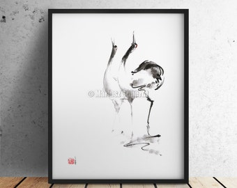 Crane Zen Art Japanese Ink Cranes Artwork Zenga Painting Abstract Modern Poster Bird Art Print.