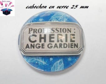 1 cabochon clear 25 mm round baby theme