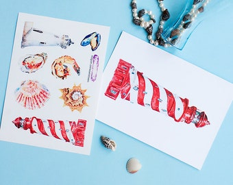 Lighthouse Postcard and Stickers Set, Nautical Postcrossing Set, Seafood and Lighthouses stickers