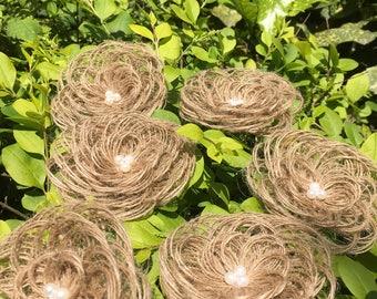 6pcs Natural Burlap Flowers Rustic Wedding Decor
