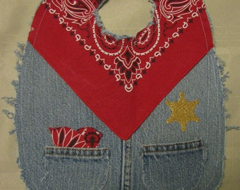 Boys Cute Western Sheriff Recycled Denim and Red Bandana Cowboy Baby Bib, Upcycled repurposed jeans, levis,