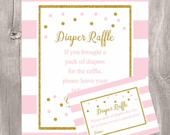 Diaper raffle sign and tickets, pink and gold diaper raffle game, Instant Download, baby shower pink and gold diaper raffle tickets and sign