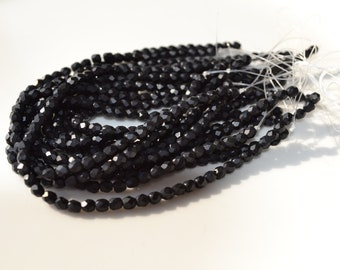 Teeny 3mm Matte Black Faceted Fire Polish Round Beads  50