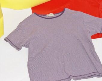 Vintage Purple Striped Boxy Shirt / Eddie Bauer Striped Shirt / Large