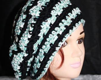 beret 100% cotton white green and black