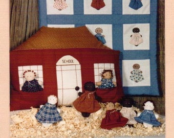 80s Farmyard Creations Pattern The Gangs All Here 5 Inch Doll, 17 Inch Quilt and School Pillow with Pockets UnCut