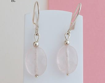 Earrings in silver and rose Quartz