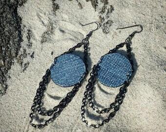 Denim Earrings- Denim & Chains