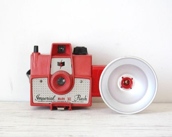 RESERVED Vintage Red Imperial Mark XII Flash WORKING 1950s Camera