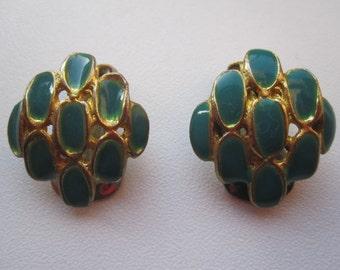Vintage 1980th Blue Clip Earrings Gift idea ForHer Summer
