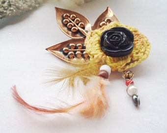 Copper Leaf Brooch with Hand Crocheted Yellow Flower and Vintage Black Button, Feathers, and Beading