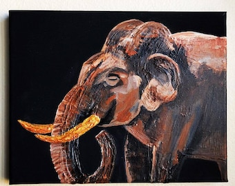 Original Asian Elephant Painting - Molding Paste and Acrylic Paint Mixed Media Artwork - From the Endangered Species Series
