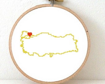 Turkey map modern cross stitch pattern. Turkish art. Home is wherever I'm with you. Gift Turkish wedding. Heart Istanbul.