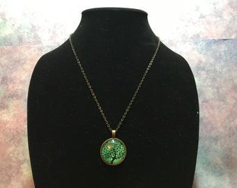 Tree of Life Necklace Teal Blue-Green Leaves are Stars Very Cute
