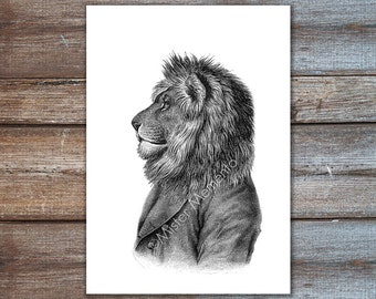 Lion art print, animals in clothes, animal art, pet portrait