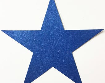 Big Star Die Cut - Blue Glitter Card Stock - 7-3/4 Inch Size - Party Decoration Scrapbook Military School Kids Collage Mixed Media Art Craft