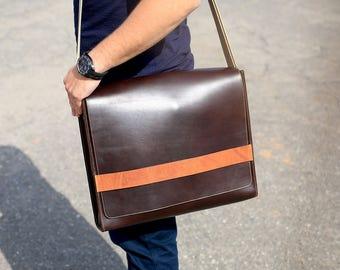 Messenger Bag, Brown Leather Messenger Bag, Leather Laptop Bag