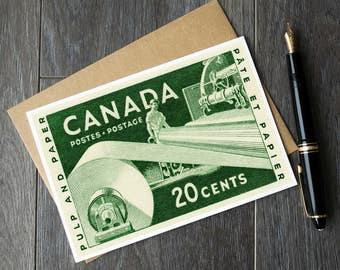 AJ Casson art prints, pulp and paper, Canada postage stamps, unique canada, Canada 150 card, canadiana cards, unique canada birthday cards
