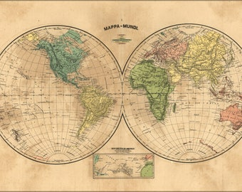 Poster, Many Sizes Available; Mappa-Mundi Map Of The World 1868 In Portuguese