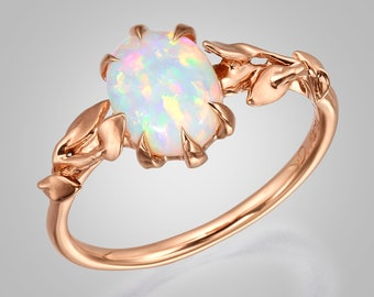 Opal engagement ring, Opal ring, Opal Jewelry, Unique Engagement ring, Australian Opal Ring, Leaves Opal Ring, Leaf Opal Ring