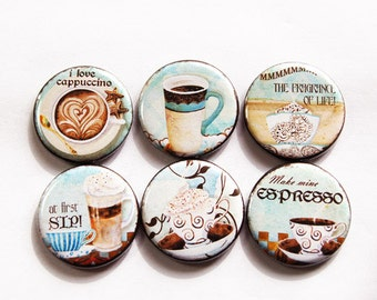 Coffee Magnets, Coffee Lover, Button magnets, Kitchen Magnet, Fridge Magnet, Espresso,Cappuccino, Stocking Stuffer, Coffee Lover gift (3255)