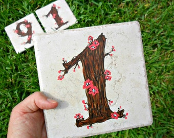 house numbers Cherry Blossom address tiles