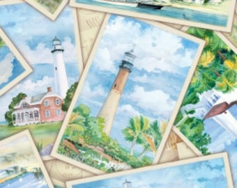 Lighthouses --postcards--fabric by the yard--Elizabeth's Studio, cotton, 6501