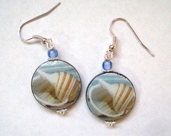 Shell at the Beach Earrings. Mother of Pearl shell dangles. Handmade.