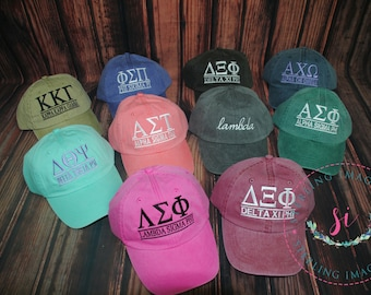 Sorority Hat,  Embroidered Adams Hat, Monogrammed Hat, Fraternity  Hats, Personalized Hat, Custom Hat, Unstructured Hat, Monogram Gift