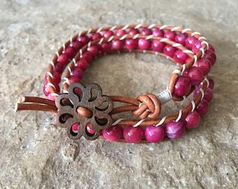 Rasberry Double Wrap Beaded Ladder Bracelet