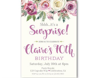 70th Surprise Birthday Invitations for Women, Surprise Party Invites for her, 60th 70th 80th Birthdays any age woman, Printable or Printed