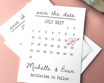 Save-the-date , Save the Date Postcard, Calendar Save the Date - Printable