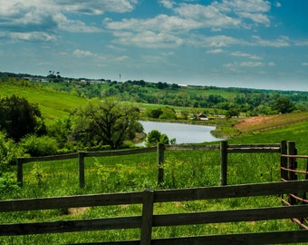 Goochland Virginia Valley, Blue Sky Photo, Goochland County, Open Field, Richmond Photography, Landscape Photo Art