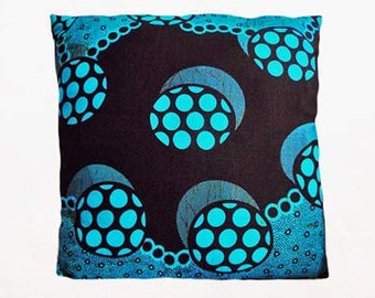 Blue Brown Circle African Print Cushion Throw Pillow Cover 16x16 or 18x18 inches